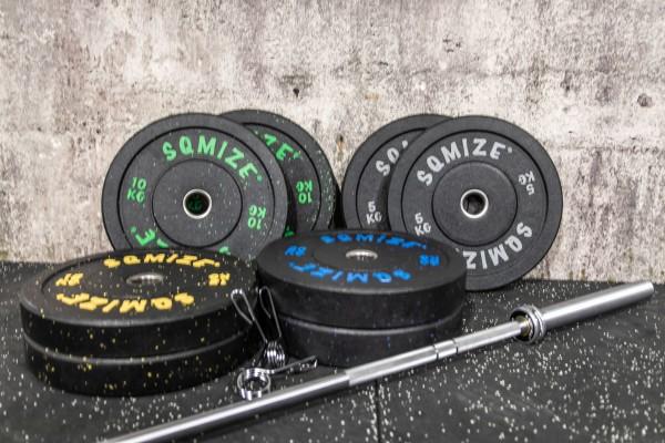 High Tempered Bumper Plate Langhantelset SQMIZE® CRBS-C100, 120 kg