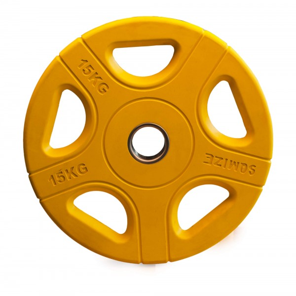 Olympia Hantelscheibe SQMIZE® OPRC15 gummiert, gelb, 15 kg