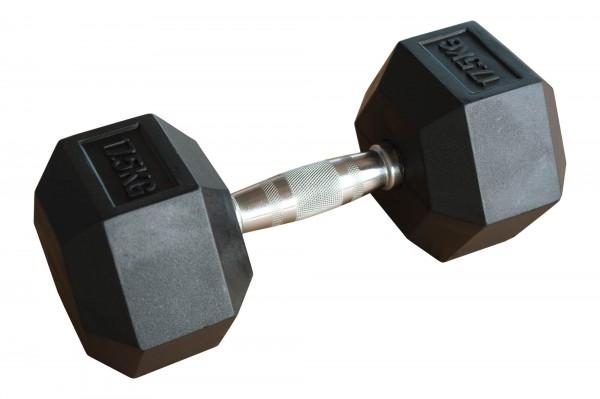 Hex Dumbbell SQMIZE® HDBR17.5 gummiert, 17,5 kg