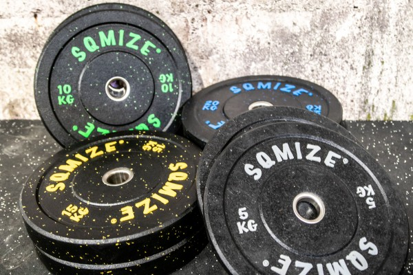 High-Tempered Bumper Plate Set SQMIZE® CRBP-C100, 100 kg, colorcoded