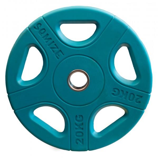 Olympia Hantelscheibe SQMIZE® OPRC20 gummiert, blau, 20 kg