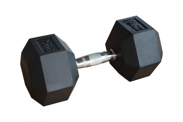 Hex Dumbbell SQMIZE® HDBR25 gummiert, 25 kg