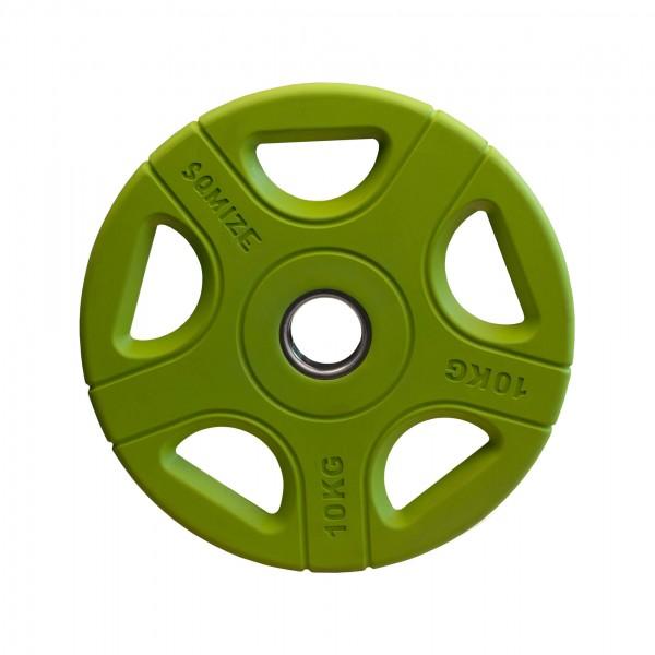 Olympia Hantelscheibe SQMIZE® OPRC10 gummiert, grün, 10 kg