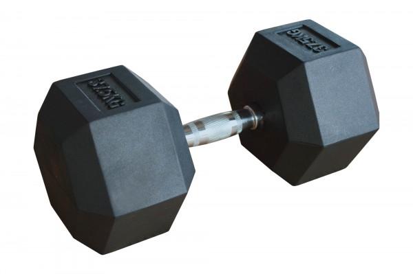 Hex Dumbbell SQMIZE® HDBR37.5, gummiert, 37,5 kg