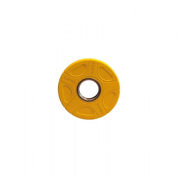 Olympia Hantelscheibe SQMIZE® OPRC1.25 gummiert, gelb, 1,25 kg