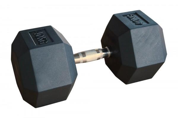 Hex Dumbbell Body-Track® HDBR40, gummiert, 40 kg