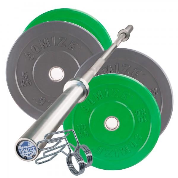 Colored Bumper Plate Langhantelset SQMIZE® CBS30 Starter, 50 kg