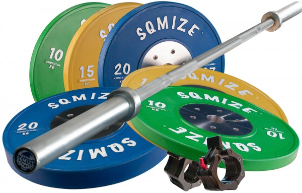 Bumper Plate Langhantelset Competition Series SQMIZE® CompBS90X, 110 kg