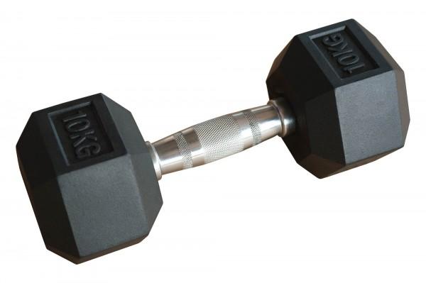 Hex Dumbbell SQMIZE® HDBR10 gummiert, 10 kg