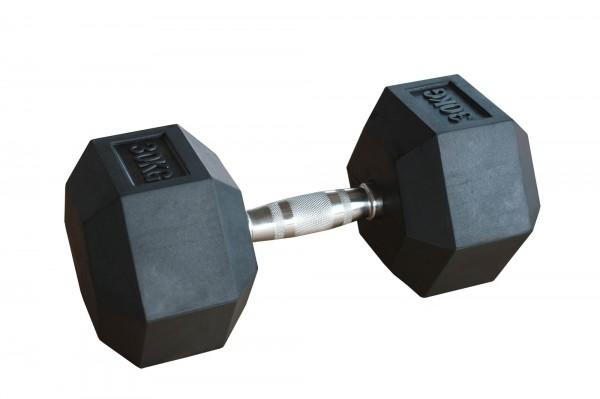 Hex Dumbbell SQMIZE® HDBR30, gummiert, 30 kg