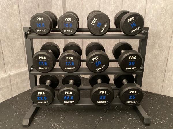 Pro Style Set mit Rack SQMIZE® SQ220-S225, Pro Style Dumbbells Komplett Set!