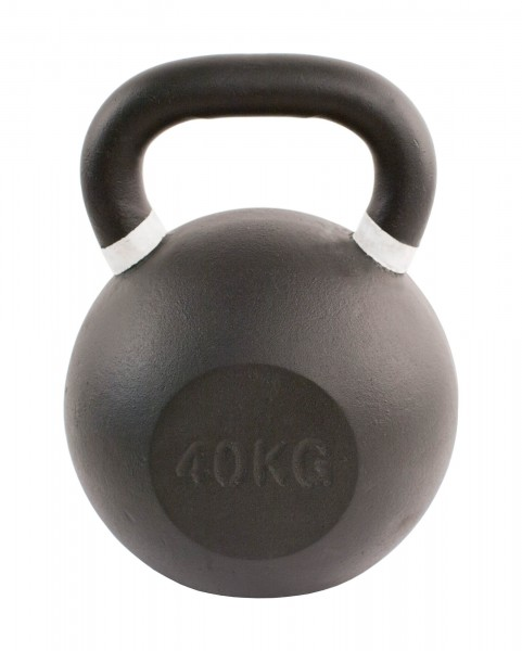 Black Kettlebell SQMIZE® BFK40 farbcodiert, 40 kg, weiß