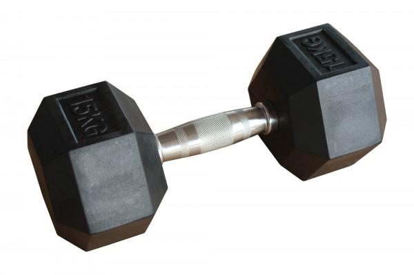 Hex Dumbbell SQMIZE® HDBR15 gummiert, 15kg