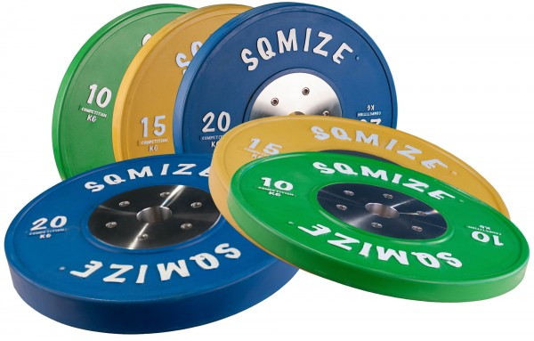 Bumper Plate Set Competition Series SQMIZE® CompBP90, 90 kg