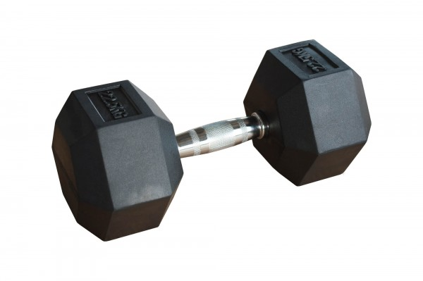 Hex Dumbbell Body-Track® HDBR22.5 gummiert - 22,5 kg
