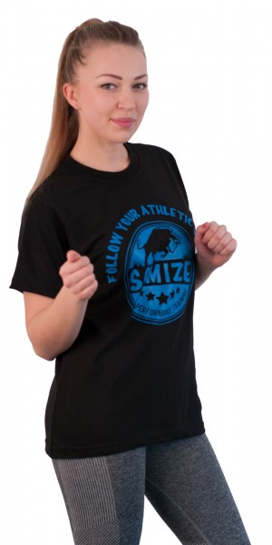 T-Shirt SQMIZE®️ TC202 black neonblue