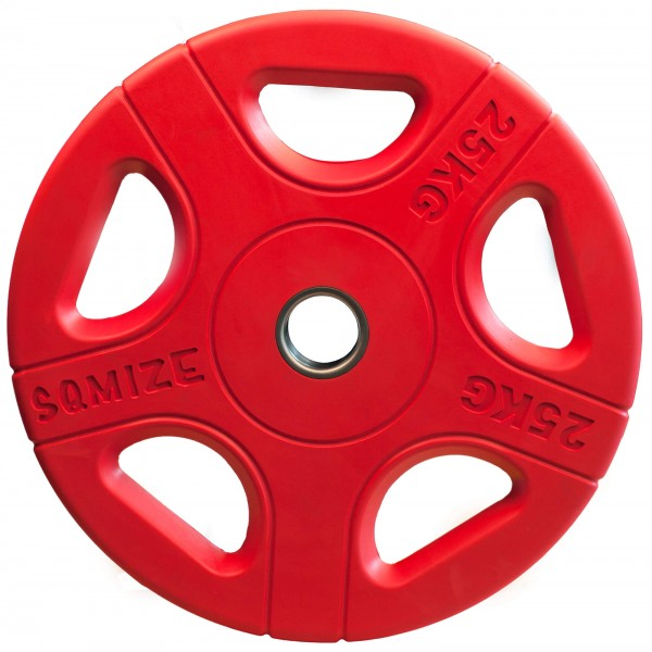Olympia Hantelscheibe SQMIZE® OPRC25 gummiert, rot, 25 kg
