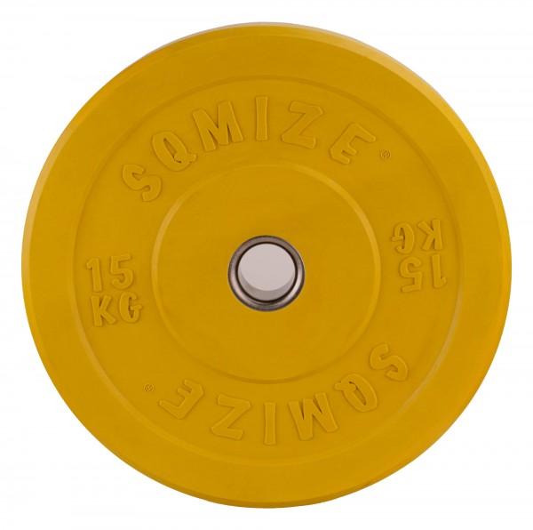 Bumper Plate SQMIZE® CBP15 Training - 15 kg, gelb