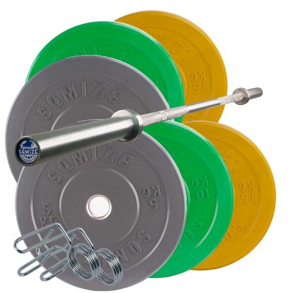 Colored Bumper Plate Langhantelset SQMIZE® CBS60 Advanced, 80 kg